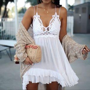 NWT Free People White Adella Lace Mini Dress